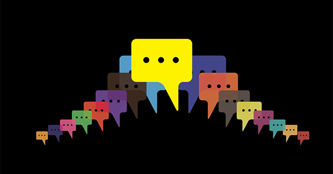 speech bubbles vector - people talking, friends chat, mobile mes